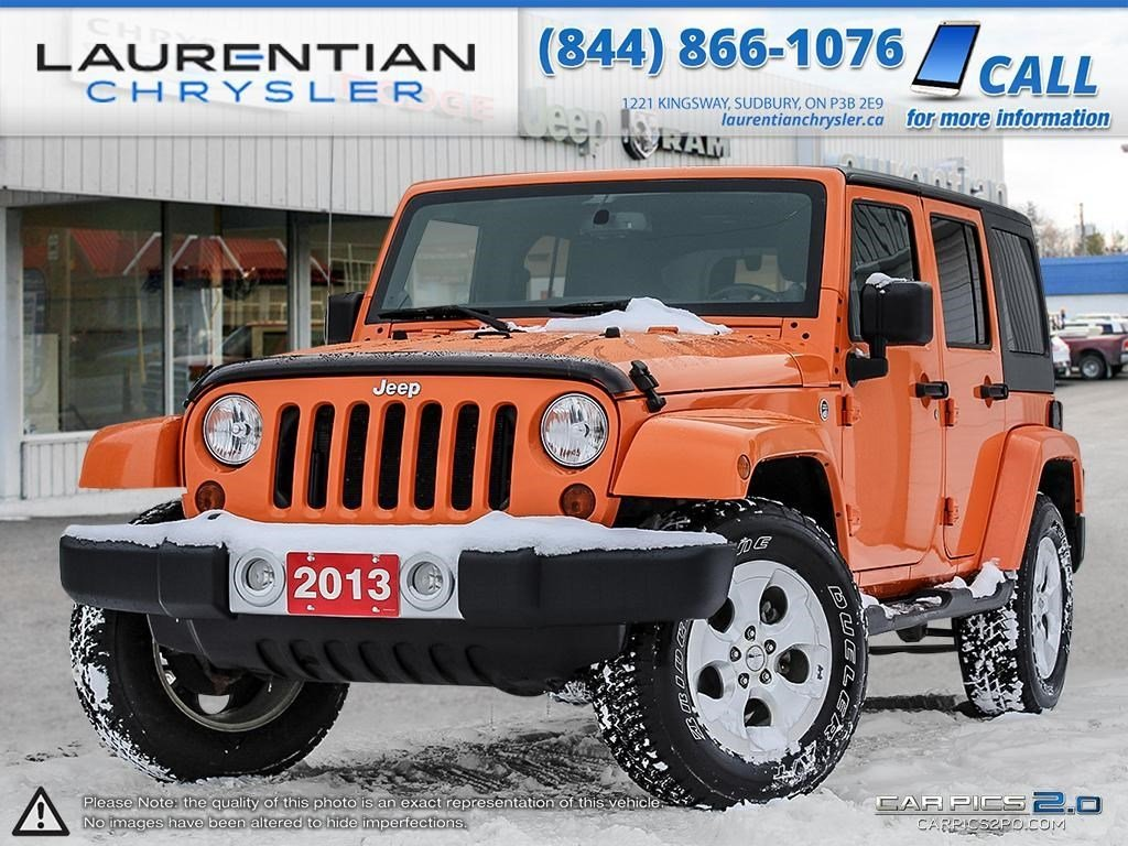 pre owned 2013 jeep wrangler unlimited sahara manual trans soft top convertible in sudbury. Black Bedroom Furniture Sets. Home Design Ideas
